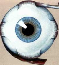 Children eye muscle surgery illustration
